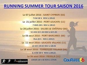 PROGRAMME ET INSCRIPTIONS RUNNING SUMMER TOUR 2016